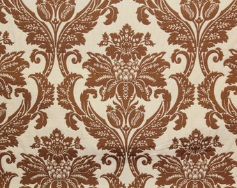 10 Yards Brown Jacquard Damask Floral upholstery fabric