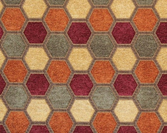 5 Yards Hexagon Harvest Geometric Chenille Upholstery and Drapery fabric