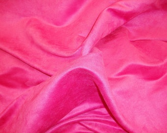 """58"""" WIde Fuschia  Polyester micro faux suede upholstery fabric by the yard"""