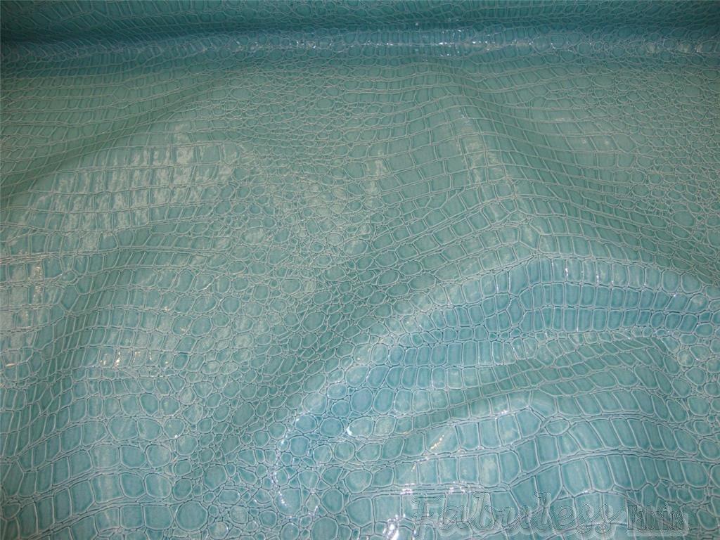 Turquoise Crocodile Upholstery Vinyl Fabric Per Yard