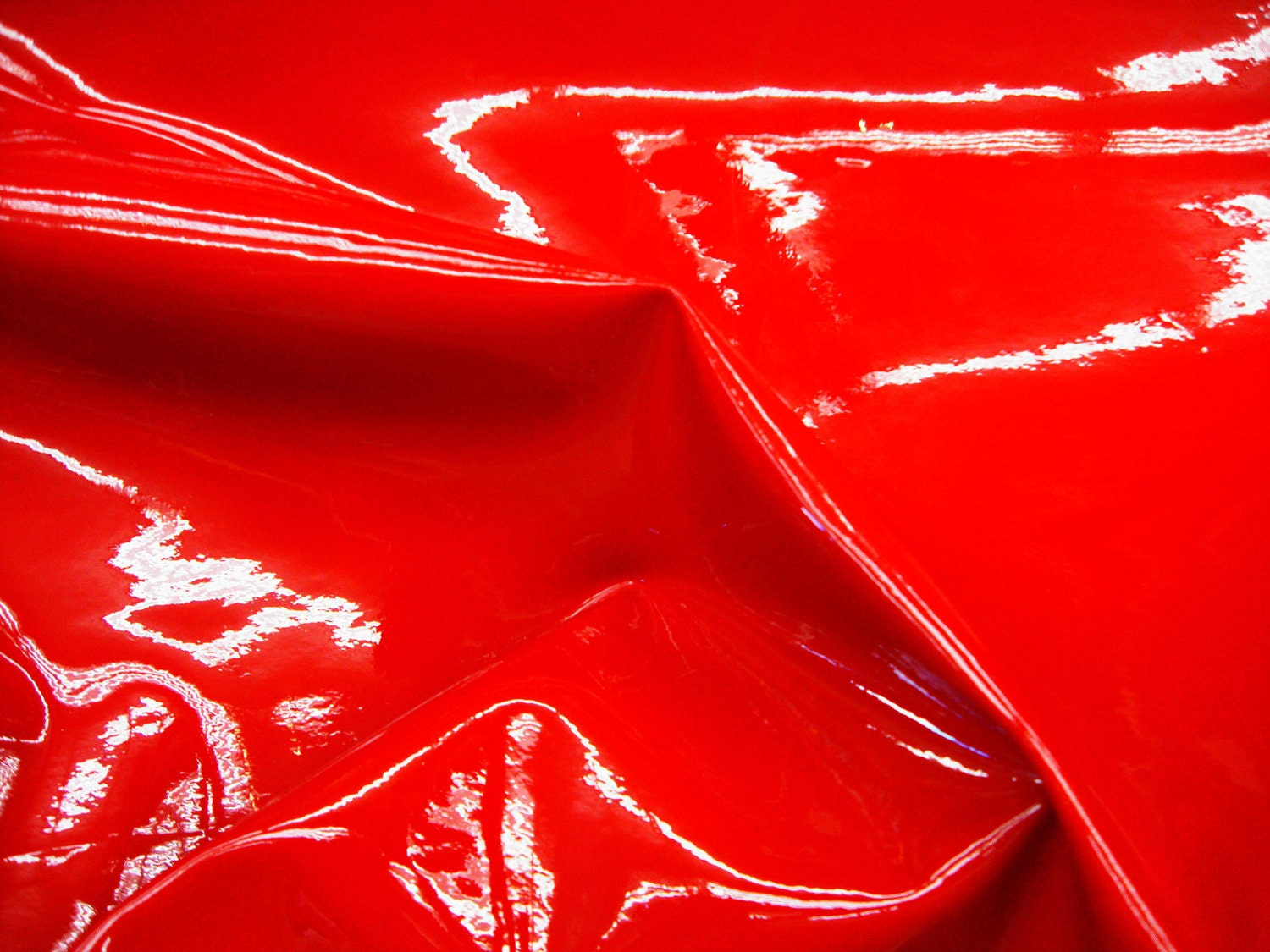 Red patent faux vinyl upholstery fabric per yard for Red leather fabric