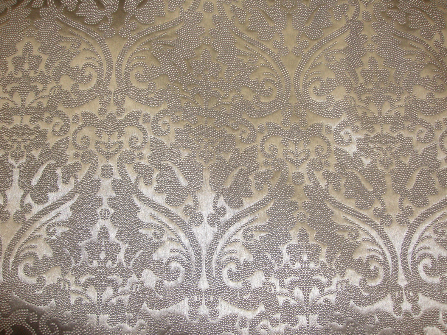 Vinyl Faux Fake Leather Silver Parisian Embossed Damask