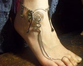 The Snake Charmer, Barefoot Sandal, Slave Anklet, Exotic Foot Jewelry
