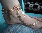 SALE // Exotic Charms of a Belly Dancer Slave Anklet, Brass and Sexy Barefoot Sandal