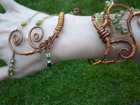 The Dragon Empress, Green and Copper Wire Cuff Goddess Bracelet