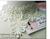 venise lace yoke applique trims pik a color 1pce. white or  ivory  wedding lingerie bridal lace trims venise lace Catherine Cole Studio