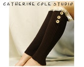 IRREGULAR Imperfect  lace leg warmers ROOMIER calf fit  womens 3 wood button  chocolate by Catherine Cole Studio  all sales final