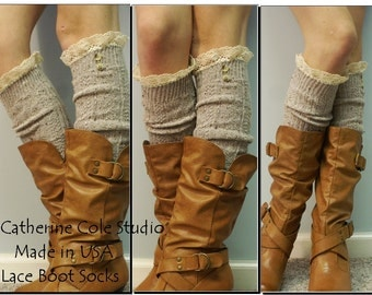 The Nordic Button-Lace boot sock -  oatmeal tweed  heather 2 brown buttons womens Catherine Cole Studio ruffled lace socks MADE IN USA