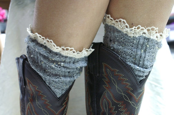 Grey tweed over the boot lace socks for women SLX204L Catherine Cole Studio lace boot socks ruffled socks over the boot leg warmers