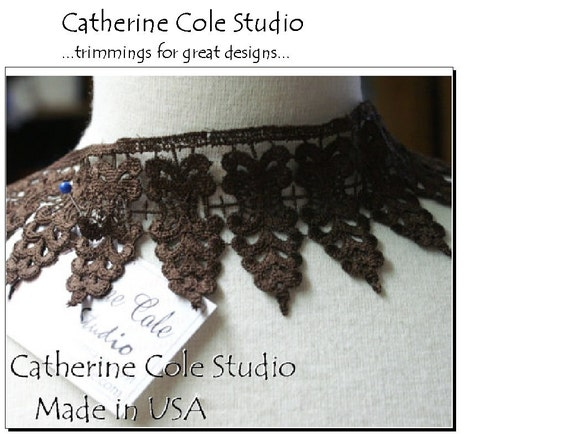 "Chocolate brown venise lace trims 26""  trimmings lingerie gothic medieval steampunk  lace fabric by Catherine Cole Studio MADE IN USA"