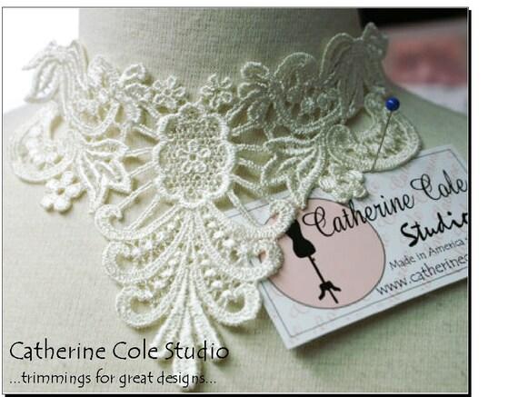 2pces. venise lace yoke applique trims pik a color black, white, ivory  wedding lingerie bridal lace trims venise lace Catherine Cole Studio