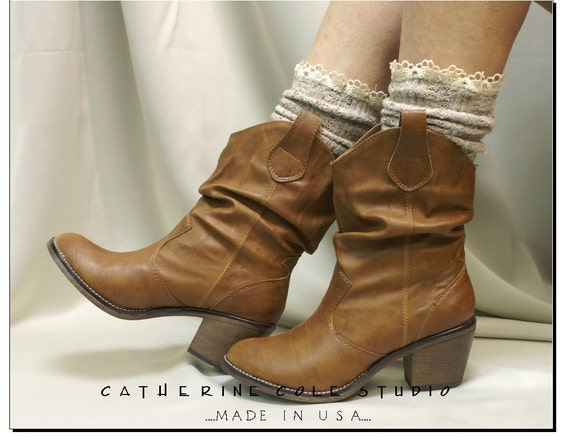 RESERVED almondcookie Miss Tori - Over boot  lace tweed Oatmeal cowboy boot socks by Catherine Cole Studio ruffled lace boot socks