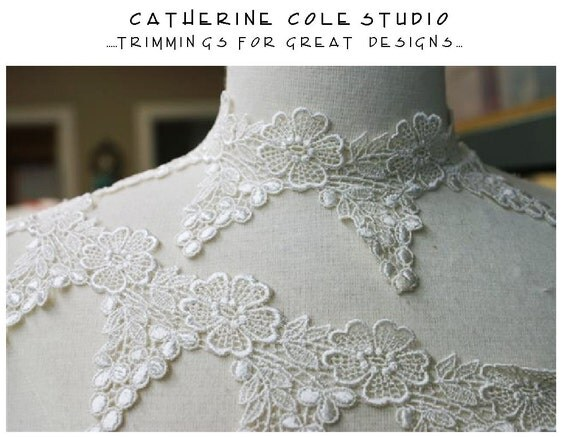 reserved Ivory venise   lace  bridal lace trims 3 yd.MADE IN USA  garter  lace trimmings collars  by Catherine Cole Studio