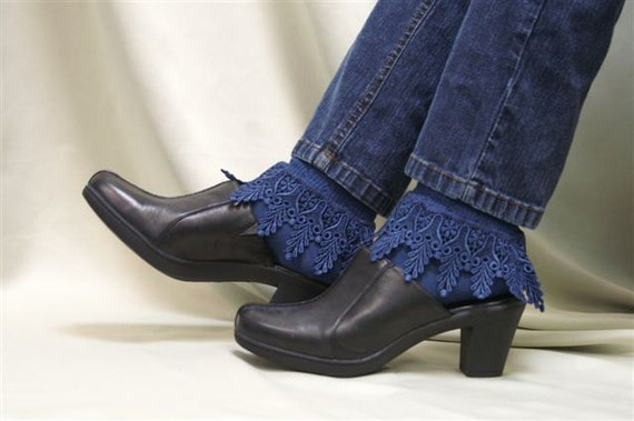 My Signature Lace Sock- Long Venise lace cuff sock-l navy SLC2 womens by Catherine Cole Studio  victorian lace boot socks MADE IN USA