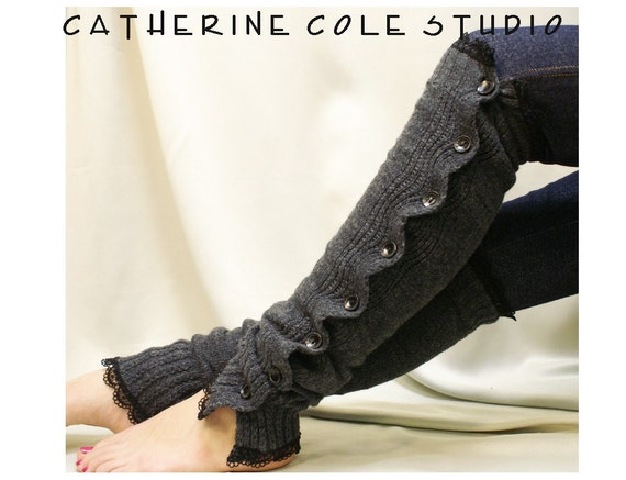 Charcoal grey Button down venise black lace edged leg warmers women great with or without boots Catherine Cole Studio lace legwarmers