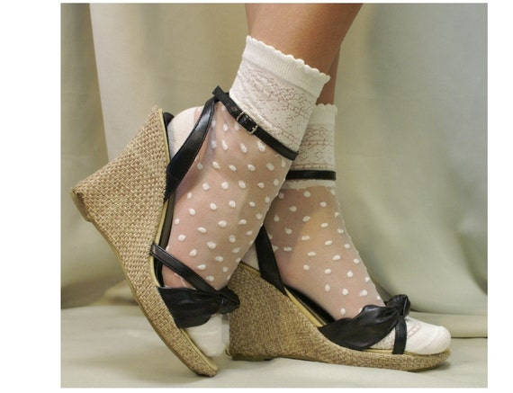 Lace socks for heels w Polka dots - CREAM Oh, so sweet for your feet lighweight for heels flats delicate lace cute for casual weddings