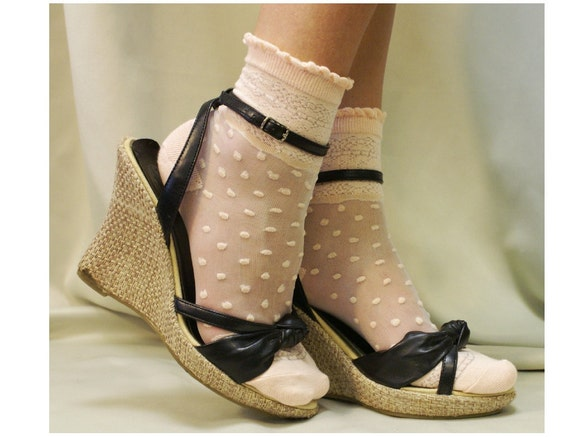 Lace and Polka dots PEACH lace socks for heels  Oh, so sweet for your feet. super lighweight  heels and flats delicate  womens socks