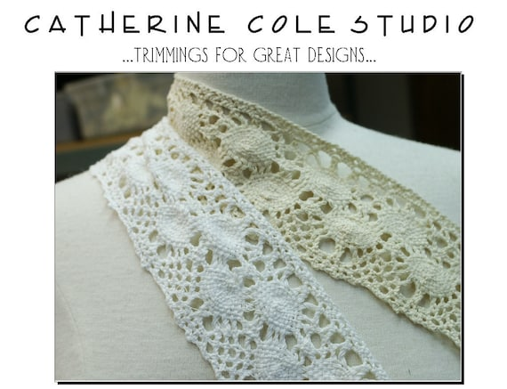 Vintage Cotton crochet cluny wide lace 1 yd. assted couture crafts white  lace trims  crochet handbag supplies by Catherine Cole Studio