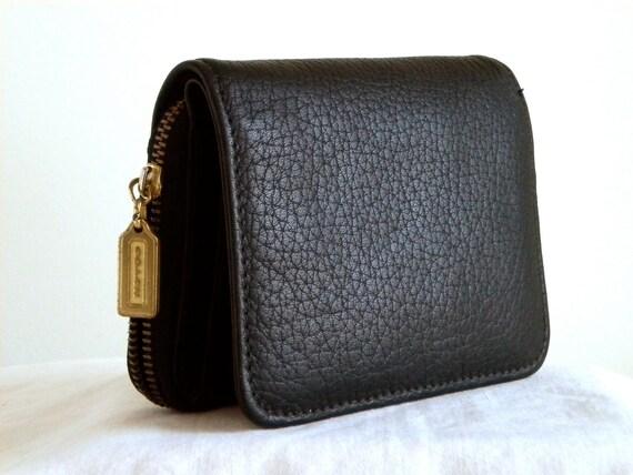 Vintage Coach Sonoma Wallet Clutch Black Pebbled Leather