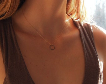 Eclipse Necklace. Hammered sterling circle hangs from a sparkly 14k gold fill chainSpring Fashion