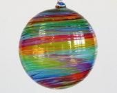 Handblown Glass Ornament Rainbow Swirl