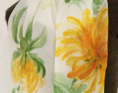 Mums for Mom - Yellow Chrysanthemums Hand-painted on Silk Scarf
