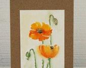 Orange Poppies - Original Watercolor on Greeting Card