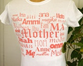 Mothers Day Tshirt - 28 Ways to say Mom - Pink on White