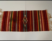 Sell one like this Vintage Serape Saltillo Mexican Folk Art Blanket 27.5 x 17.75 Silk center