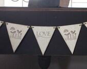 5 Piece Love Birds Pennant Banner - Wedding / Bridal Shower Decor