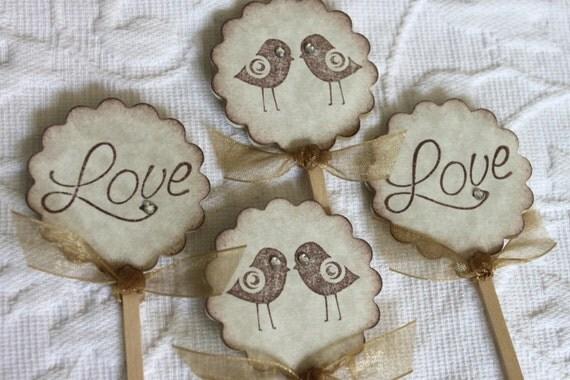 Set of 12 Love Bird Cupcake / Food Picks with Golden Brown Ribbon - Wedding - Wedding Shower
