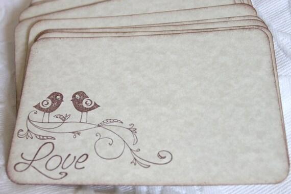 Set of 12 Love Bird  Wish Cards - Wedding or Bridal Shower