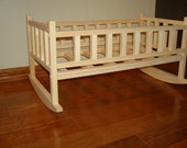 Solid Wood Rocking Cradle Fits American Girl Doll