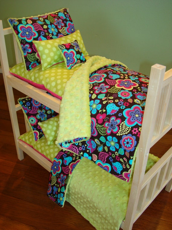 items similar to 10 piece bunk bed bedding set fits american girl doll on etsy. Black Bedroom Furniture Sets. Home Design Ideas