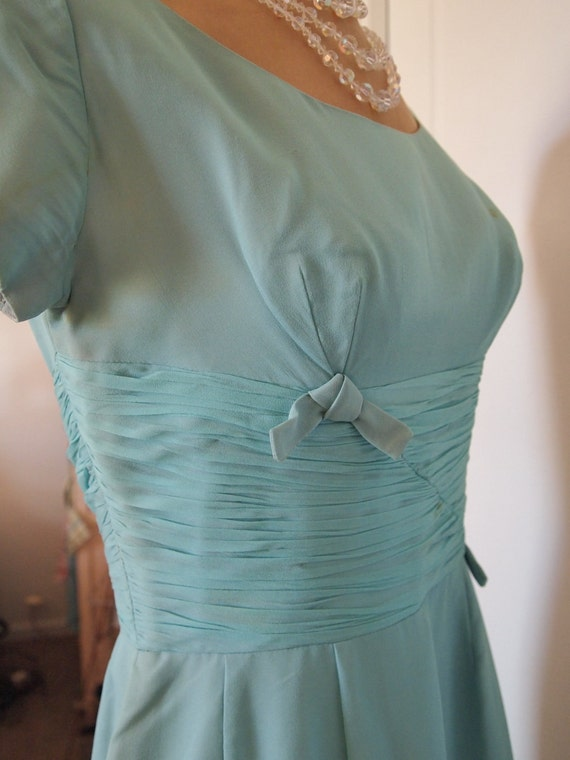 Cocktail Dress 1950's/60's in Soft Teal Chiffon