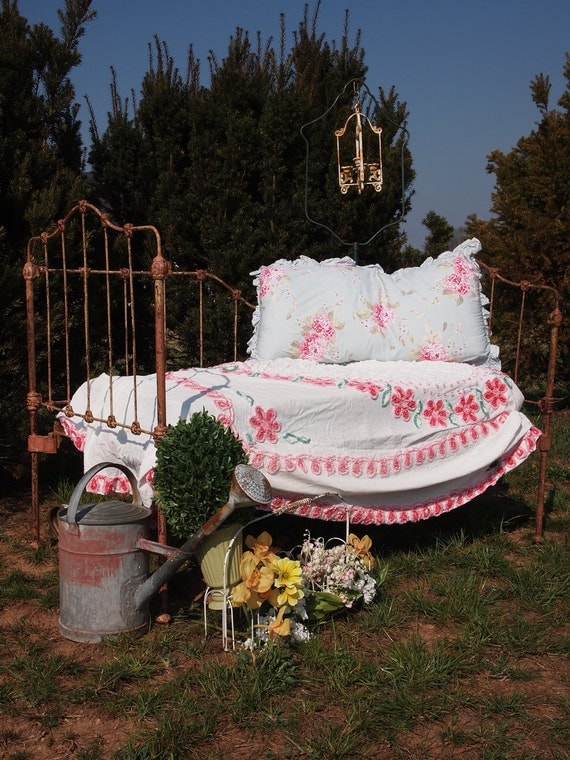 Shabby Chic Furniture Cottage Iron Day Bed - With or without vintage crib mattress