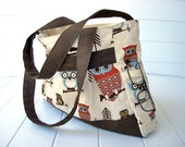 I dont give a hoot -  Sunbrella brown canvas bottom owl shoulder bag