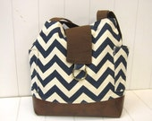 Large chevron teal green.cotton.canvas.brown tote bag.diaper bag.everyday bag.10pockets