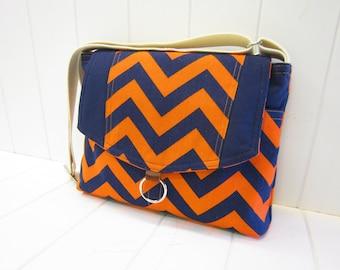 Chevron messenger bag/orange/navy blue/ipad messenger bag, cross body bag/shoulder bag - Made in USA