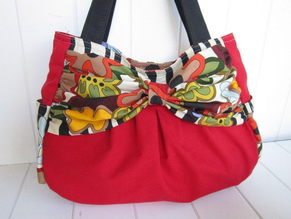 Large bow shoulder bag/diaper bag/zippered/- ready to ship