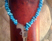 Turquoise Stone Cowgirl  Necklace with Pistol Pendant