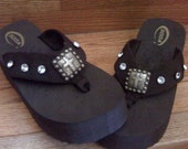 Cowgirl Flip Flops Brown with Rhinestones and Rustic Cross Conchos
