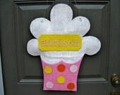 Burlap Birthday Cupcake Door Hanger Personalized