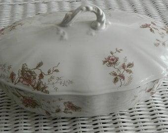 J&G Meakin   Hanley, England  Semi Porcelain Covered Dish   Circa 1900