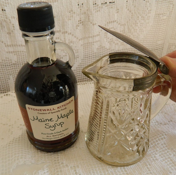 Vintage Pressed Glass Hinged Lid Syrup Pitcher