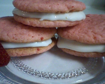 Strawberry Daiquiri Sandwich Cookies (12 cookies)