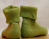 KNITTED WOOL socks - EU size 34/35 - 23cm foot - Lime Green  - pure wool - hand cranked and finished.
