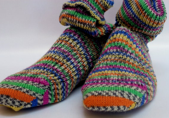KNITTED WOOL SOCKS - 26cm foot - Regia yarn - green, yellow, pink , blue and grey stripes