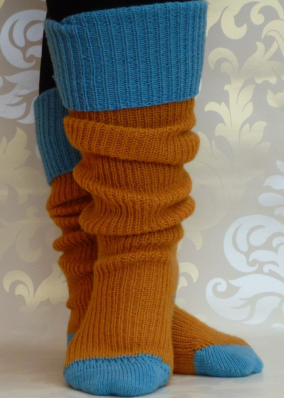 Thigh high KNITTED WOOL  SOCKS - Golden Mustard Yellow  with Turquoise Blue toes and heels - 21 cm foot