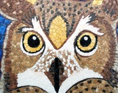 Great Horned Owl in Full Moon - Egg Shell Mosaics - Owl Mosaic Art